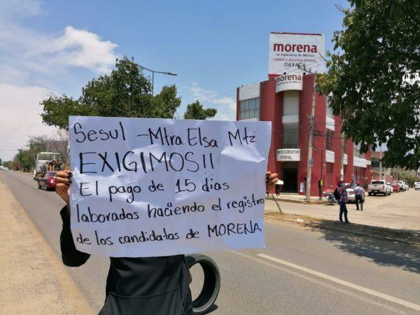 Nuevamente ex trabajadores de Morena exigen pago de salario