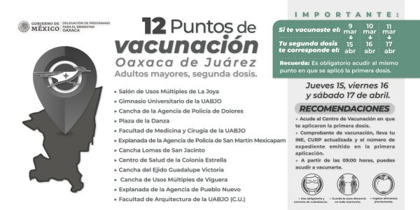 En la capital oaxaqueña segunda dosis para adultos mayores, se aplicará según calendario de la primera aplicación