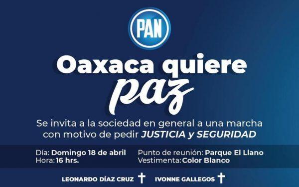 Convoca PAN a marcha por la justicia y seguridad en Oaxaca