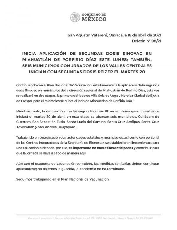 Esta semana aplicarán segunda dosis de vacuna contra Covid en sierra sur y municipios conurbados a la capital oaxaqueña