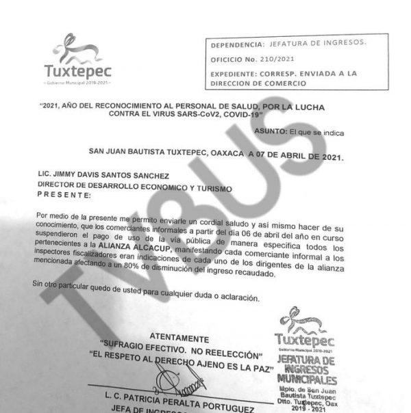 ALCACUP deja de pagar al Ayuntamiento de Tuxtepec, más de 15 mil pesos al día por vender en la vía pública