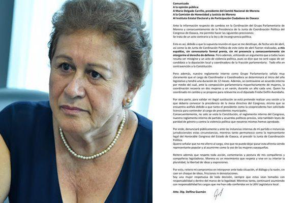 Denuncia Delfina Guzmán violencia política en cambio de la presidencia de JUCOPO