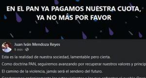 Tunden en redes a Juan Iván Mendoza, por publicación en facebook