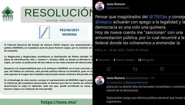 TEEO amonesta públicamente a Morena y a Jesús Romero por actos anticipados de campaña