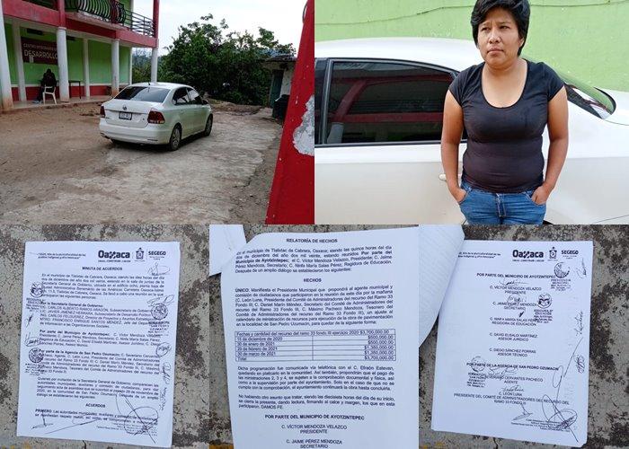 Retienen a Regidora de Ayotzintepec en Ozumacin; pobladores exigen sus recursos