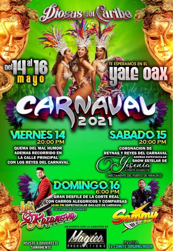 """Cartelera del Carnaval de """"El Yale"""" 2021 en Acatlán Oaxaca"""