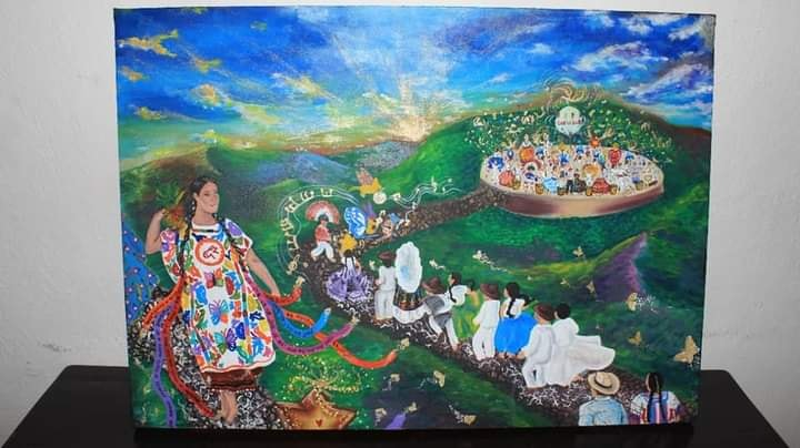Isabela Amos muestra la obra con la que participó para la Guelaguetza 2021