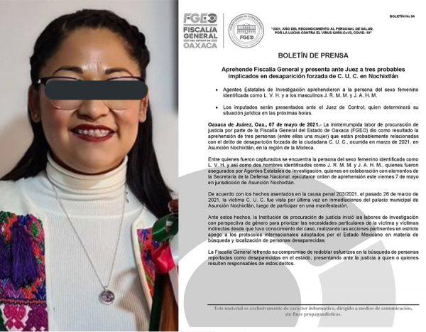 Confirma Fiscalía de Oaxaca detención de Presidenta de Noxhixtlán por desaparición de Claudia Uruchurtu