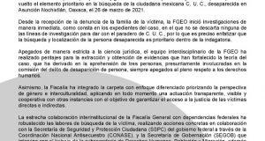 FGEO sin descartar ninguna línea de investigación en búsqueda de Claudia Uruchurtu