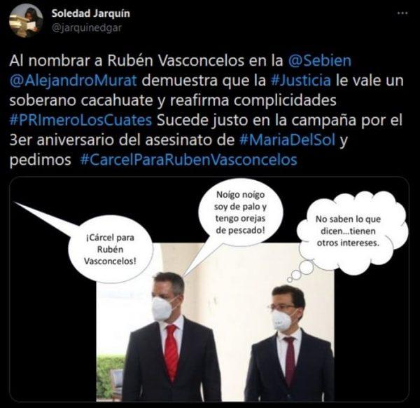 Recrimina Soledad Jarquín nombramiento de Rubén Vasconcelos en la SEBIEN