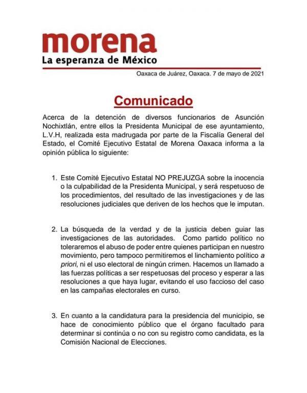 Tras detención de edil de Nochixtlán, candidatura la definirá Comisión Nacional de Elecciones: CEE Morena
