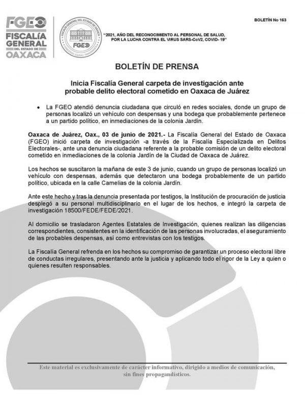 Inicia FGEO investigación por posible delito electoral en la capital
