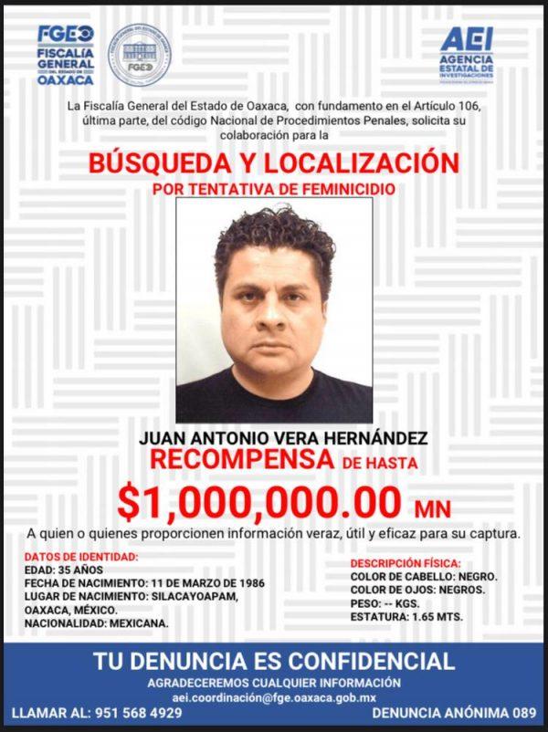 Ofrece Fiscalía de Oaxaca 1 mdp para localizar a hijo de Vera Carrizal por ataque a María Elena Ríos