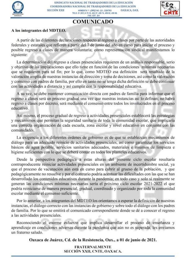 Rechaza Sección 22 regreso a clases presenciales en Oaxaca este 7 de junio