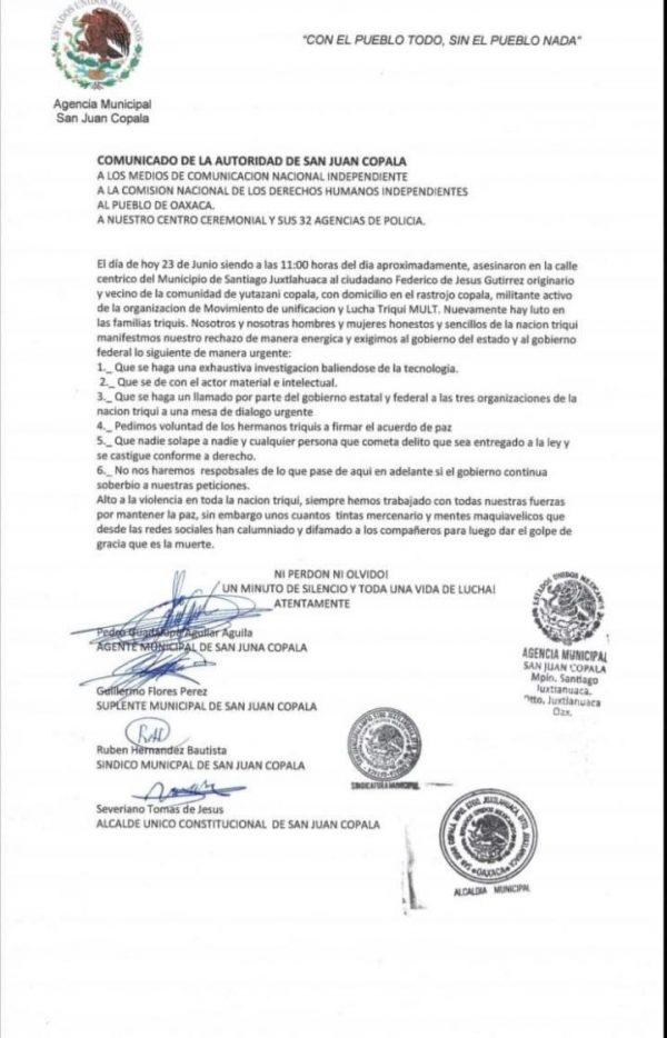 MULT exige justicia por asesinato de militante en Santiago Juxtlahuaca