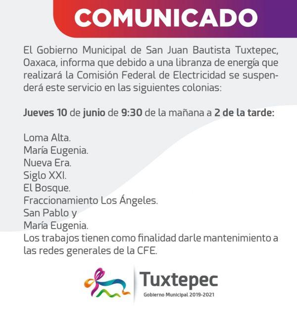 Se quedarán sin luz, 8 colonias de Tuxtepec