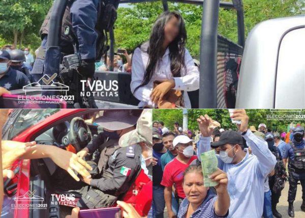 Violencia en Tuxtepec por presunta compra de voto; lanzan dinero al aire