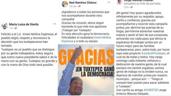 Con mensajes en redes sociales, ex candidatos a la presidencia de Tuxtepec agradecen votos