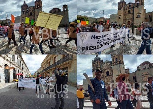 Mezcaleros oaxaqueños, marchan en respaldo de Abelino Cohetero
