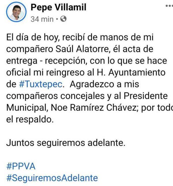 Regresa Pepe Villamil a regiduría de servicios básicos en Tuxtepec