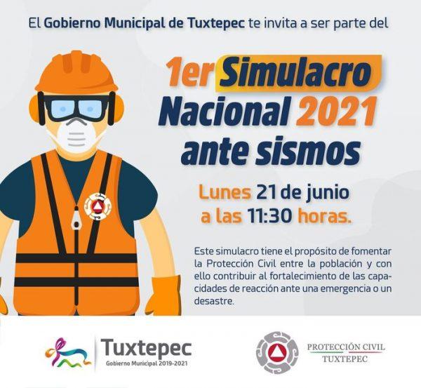 Ayuntamiento de Tuxtepec se suma a Simulacro Nacional 2021
