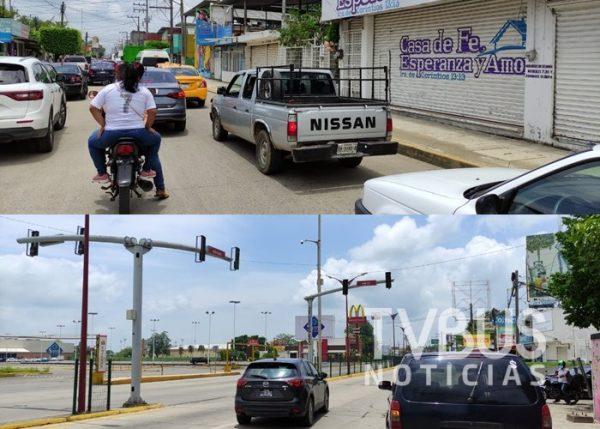 A vuelta de rueda, sin auxilio vial y sin semáforos, tráfico en Tuxtepec por obra de CEA