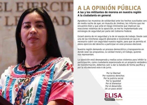 Tras intento de secuestro, candidata de Morena Elisa Zepeda recibe medidas cautelares