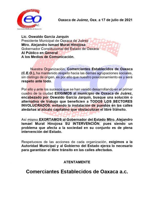 Comerciantes Establecidos de Oaxaca, piden al gobierno solucionar tema de ambulantes