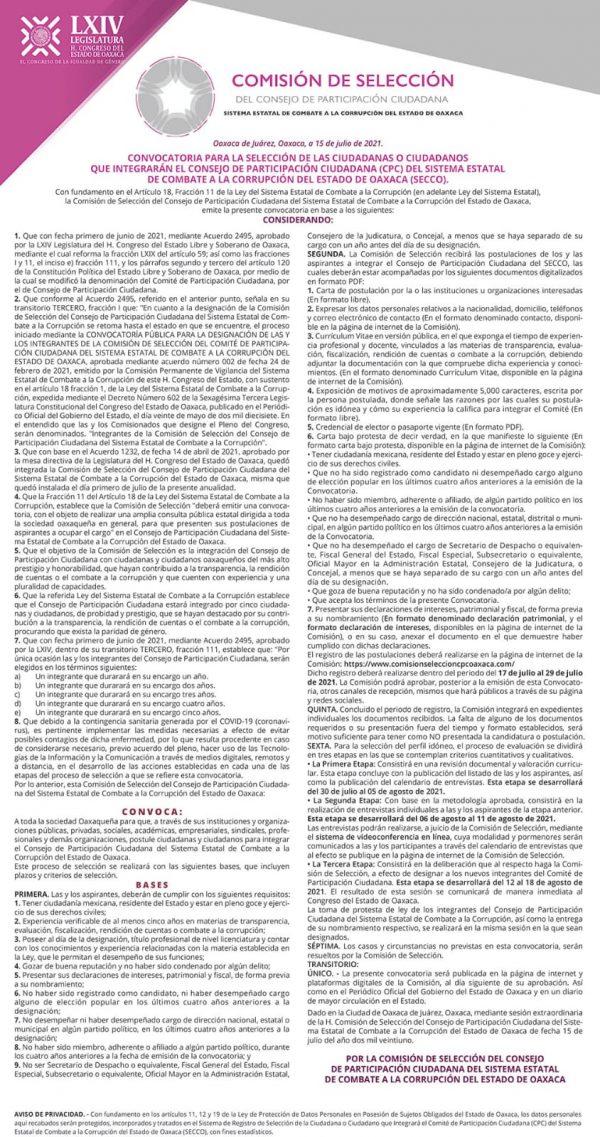 Emiten convocatoria para integrar nuevo Consejo de Participación Ciudadana del Sistema Estatal de Combate a la Corrupción de Oaxaca