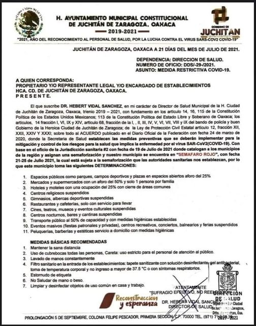 Juchitán Regresa al Semáforo Rojo por incremento de casos de COVID-19