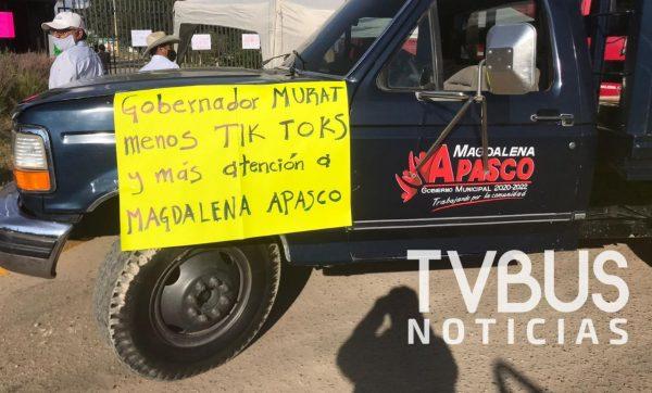 Presidentes de valles centrales y sierra norte bloquearon parque industrial de Magdalena Apasco