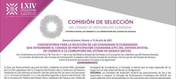 Lanzan Convocatoria para conformar Consejo  de Participación Ciudadana del Sistema Estatal del Combate a la Corrupción del Estado de Oaxaca