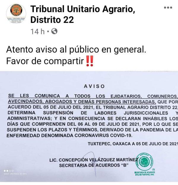 Por covid, una vez más cierra tribunal agrario en Tuxtepec