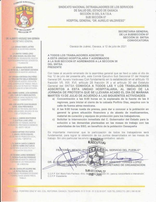 Reventarán este martes trabajadores del hospital civil de Oaxaca contra SSO