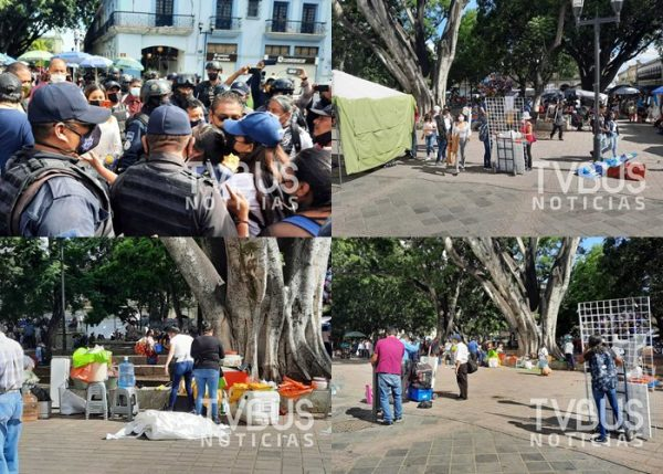 Policía municipal de Oaxaca de Juárez desaloja a ambulantes en la Alameda de León