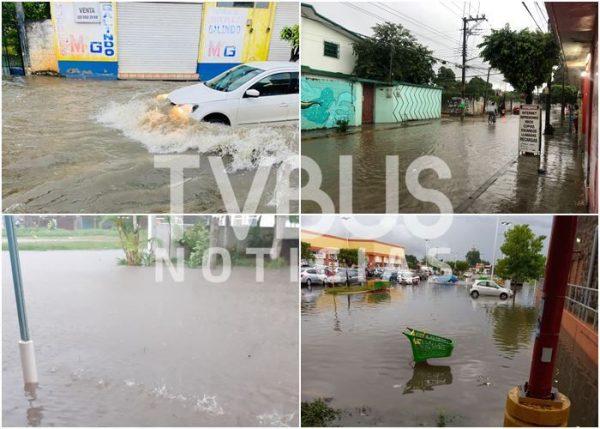 Lluvia en Tuxtepec provoca fuertes anegaciones en calles del centro, plaza y colonias