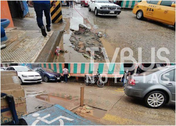 """""""Hoyos"""" por obra de agua potable en Tuxtepec, invisibles por la lluvia; ciudadanía molesta"""