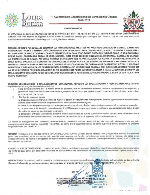 Por covid, comercio de Loma Bonita solo abrirá medio día