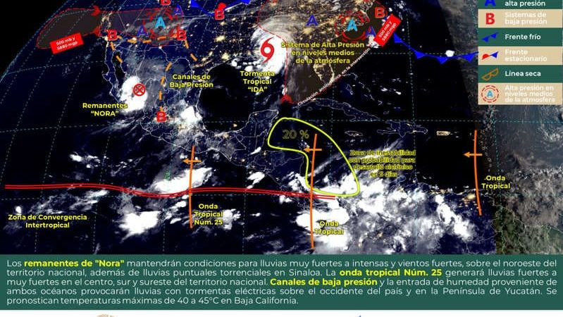 Prevén fuertes lluvias en el país; 'Nora' ya es baja presión remanente