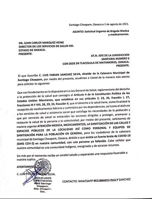 Santiago Choapam pide ayuda urgente por aumento de contagios de Covid
