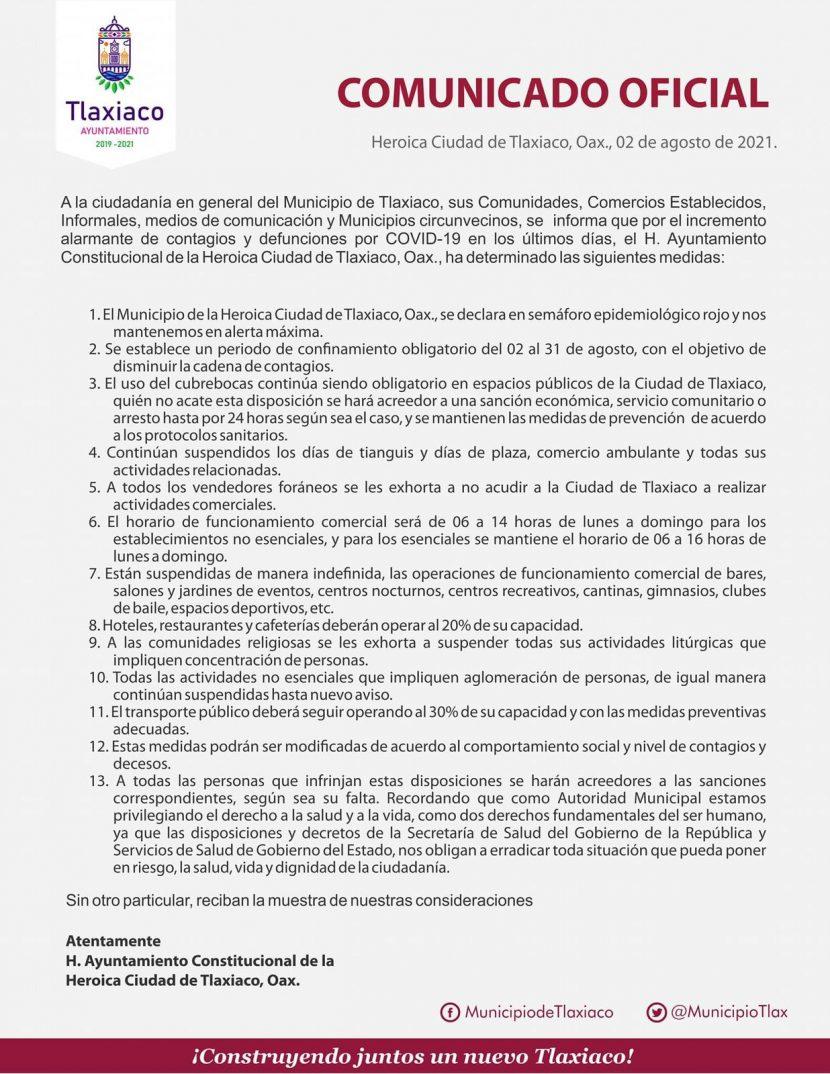 Tlaxiaco decreta confinamiento del 02 al 31 de agosto por contagios de Covid