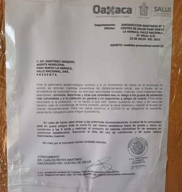 Paso Nuevo La Hamaca,  primer comunidad de Valle Nacional, en endurecer medidas por tercera ola de covid