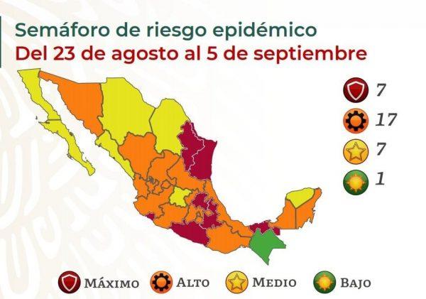 Oaxaca continuará del 23 de agosto al 5 de septiembre en semáforo epidemiológico naranja