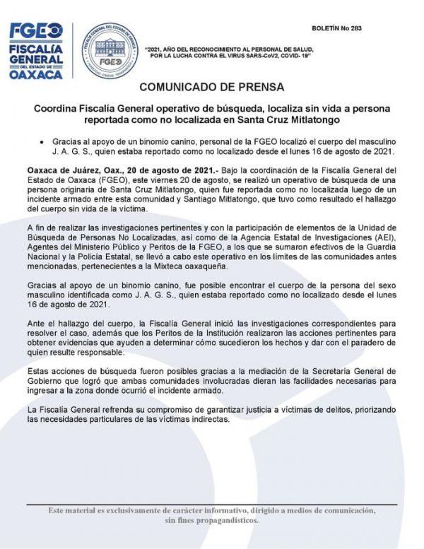 Encuentran sin vida a Agente desaparecido de Santa Cruz Mitlatongo, confirmó la Fiscalía de Oaxaca