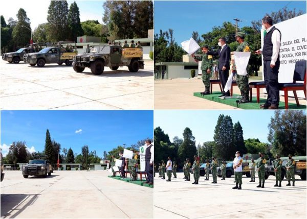 Dan Ejército Mexicano y Gobierno de Oaxaca banderazo de salida a brigadas del Plan de Vacunación contra el COVID-19 en zonas rurales