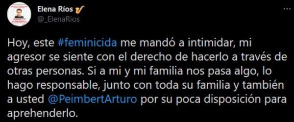 Denuncia Elena Ríos intimidación por parte de agresor