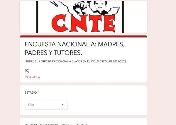 Sección 22 del CNTE lanza  encuesta a los papás para el regreso a clases; conócela