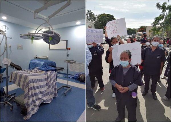 Sin funcionar quirófanos del Hospital Civil de Oaxaca por paro de trabajadores de limpieza
