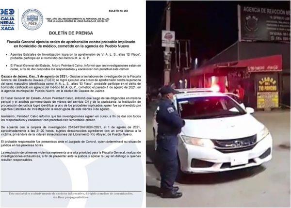 Fiscalía de Oaxaca, detiene a presunto homicida de médico