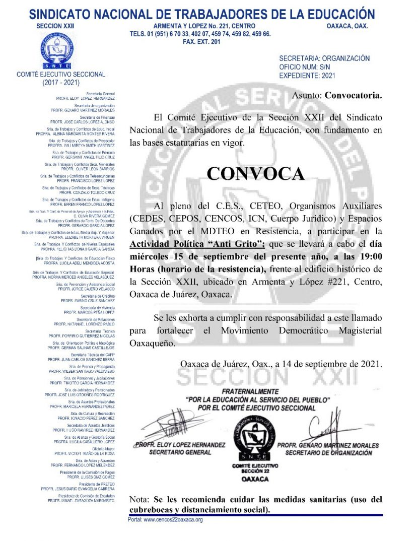 """Sección 22 realizará """"Anti Grito"""" este 15 de septiembre"""